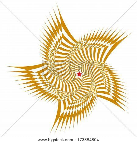 Vector illustration of a brown sweeping pattern with red five-pointed star in the center on a white background creates an optical illusion.