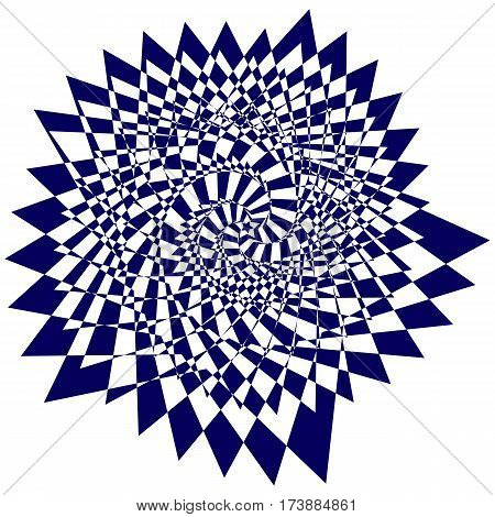 Vector illustration of blue sweeping pattern of the five-pointed star on a white background creates an optical illusion.