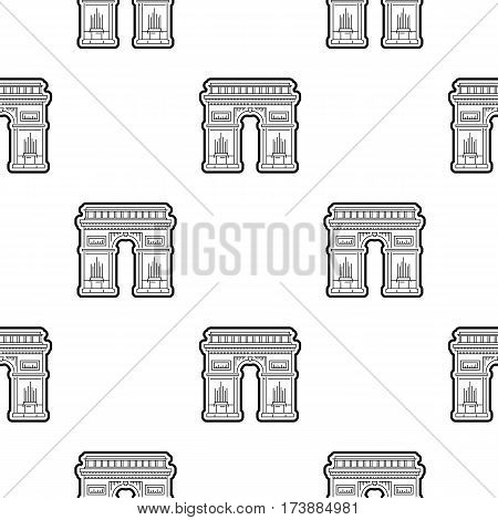 Seamless pattern black on a white background with the image of the symbol of France and Paris tThe building of the arc de Triomphe, in a linear style.
