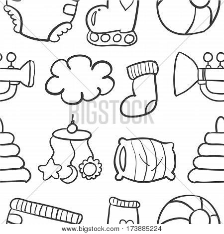 Doodle of baby set collection stock vector illustration