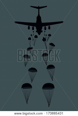 Illustration of a military plane and paratroopers.