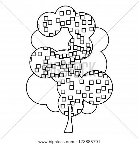 silhouette leafy tree with pixels square vector illustration