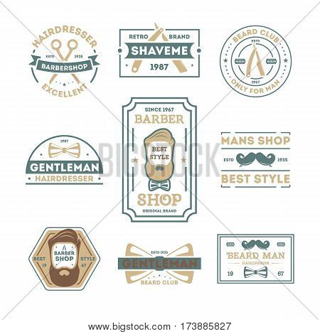 Barber shop vintage isolated label set vector illustration. Hairdresser and gentleman symbols. Beard club logo. Best style only for man concept. Mans shop retro brand. Shave me sign. Straight razor