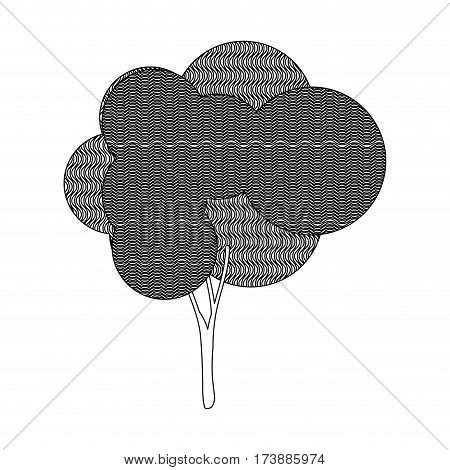 monochrome silhouette leafy tree with wave lines vector illustration