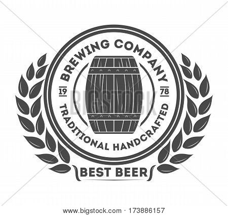 Beer logo pub vintage isolated label vector illustration. Brewing beer logo company symbols. Best craft beer logo premium quality icon. Fresh brewed beer product. Beer logo template. Layout of beer logo.