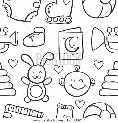 Collection stock of baby element doodles vector art
