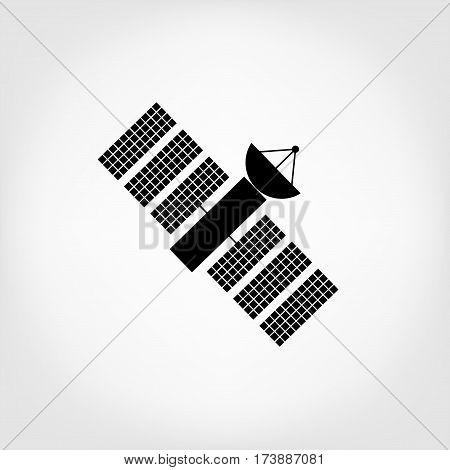 vector earth satellite icon. Cosmos satellite logotype