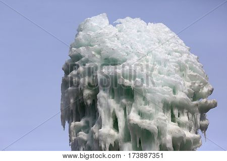 the a frozen blocks of ice icicles stalactites