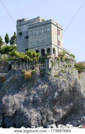 Portovenere Italy - 7 July 2015: The castle of Monterosso on Cinque Terre Italy