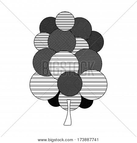 monochrome silhouette tree plant forest with abstract lines vector illustration