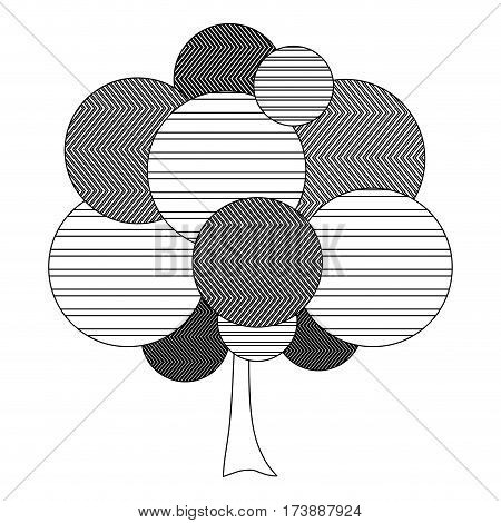 monochrome silhouette leafy tree plant with abstract lines vector illustration