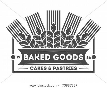 Bakery shop vintage isolated label vector. Bread and cake house symbols. Sweet bakery icon. Cakes and pastries logo. Baked goods. Bakery shop logo vector on white background