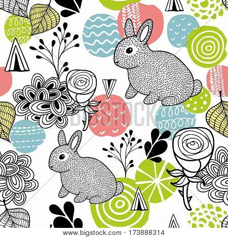 Seamless pattern with spring time rabbits. Vector illustration.
