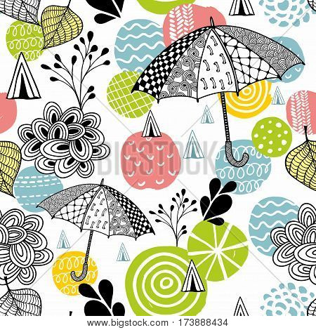 Seamless pattern with spring time umbrellas.Vector illustration.