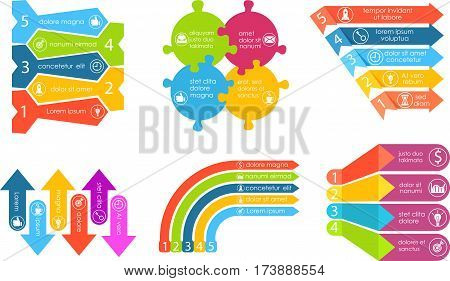 Business infographics set vector. Chart, financial diagram, graph, report, stage elements. Modern infographics for website, corporate report, presentation. Infographics elements set. Abstract infographics design. Dark infographics bundle. Infographics