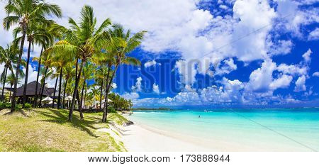 Dream holidays in tropical paradise. beautiful turquoise beaches of Mauritius island