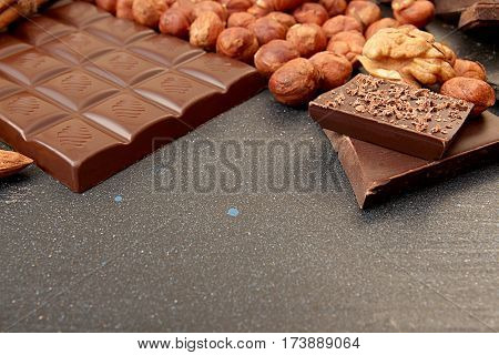 Chocolate Pieces, Filbert, Walnut, Almond, Chocolate Shavings