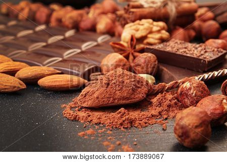 Cocoa Powder Dessert Spoon, Chocolate Pieces, Almonds,  Filbert, Anise Star