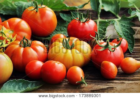 Red tomatoes with leaves on wooden background.