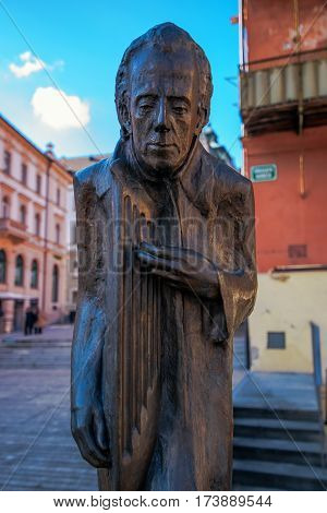 LJUBLJANA SLOVENIA - FEBRUARY 19 2017: New statue of conductor and composer Gustav Mahler was unveiled at noon on Friday 1 July 2011 in Dvorni trg. The statue is created by sculptor Bojan Kunaver cast by Roman Kamsek.