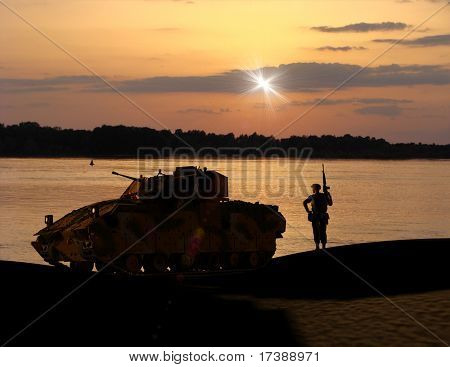 Military engineering and soldier on a background of a nature