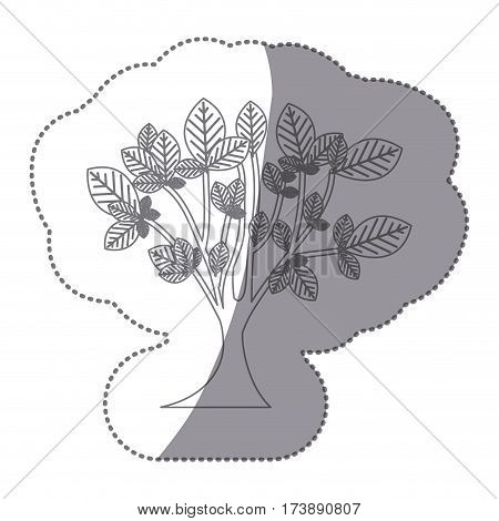 sticker gray color leafy tree with trunk nature icon vector illustration