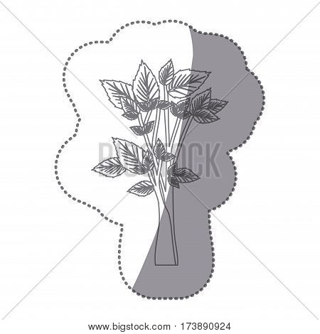 sticker gray color leafy tree forest icon vector illustration