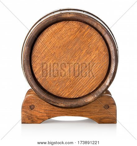 Front view of a wooden barrel on stand