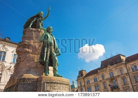LJUBLJANA SLOVENIA - FEBRUARY 19 2017: Preseren monument in Ljubljana bronze statue of the Slovene national poet France Preseren in the capital of Slovenia. It is among the best-known Slovenian monuments.