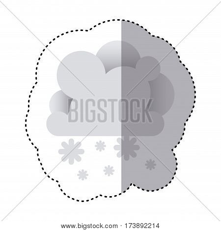 color sticker with cumulus of clouds and snow fall vector illustration