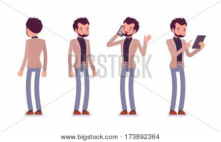 Set of young smiling dandy in a smart casual wear, standing poses, talking on phone, holding tablet, nice appearance and clothes, full length, front and rear view isolated against white background