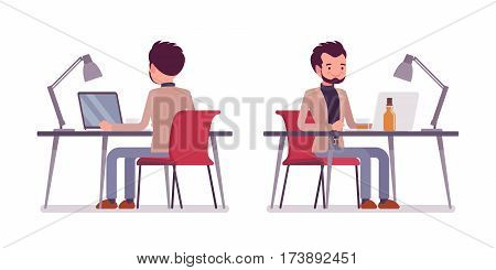 Set of young smiling dandy in smart casual wear, sitting at the desk and working at the laptop looking at screen, writing a weblog, shopping on-line, front and rear view, isolated, white background