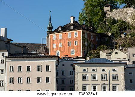 Facades of buildings in the historic centre of Salzburg. Austria