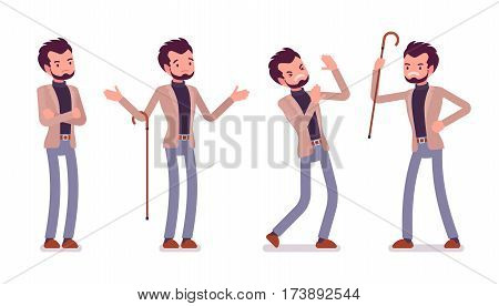 Set of young unhappy dandy in smart casual wear showing negative emotions, puzzled and troubled, quarrelling and attacking with cane, lost and questioning, full length, isolated, white background