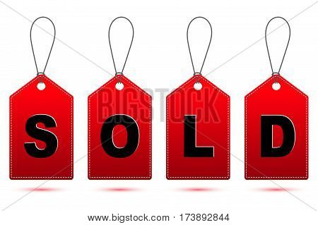 red SOLD tag with string and shadow isolated on white background