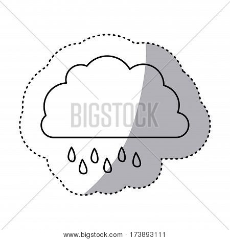 monochrome contour sticker of cloud with drizzle vector illustration