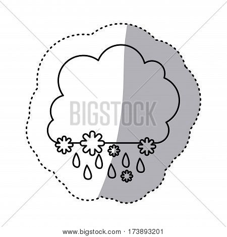 monochrome contour sticker with cumulus of clouds with rain vector illustration