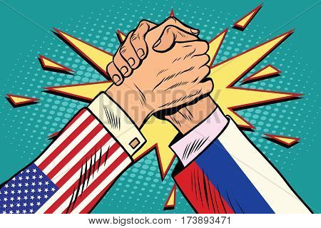 USA vs Russia. Arm wrestling fight confrontation, pop art retro vector illustration