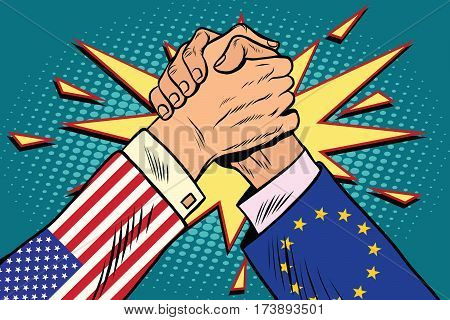 USA vs EU policy and competition, Arm wrestling fight confrontation, pop art retro vector illustration
