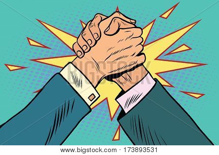 business Arm wrestling fight confrontation, pop art retro vector illustration