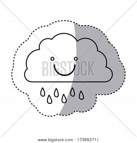monochrome contour sticker of smiling cloud with drizzle vector illustration