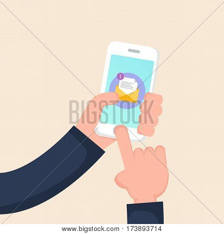 Hand holding smartphone with new message on screen. Chat, tweet, instant messaging, sms, mobile messenger concepts for web sites, web banners, printed materials. Vector illustration in a flat style.