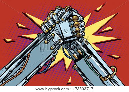 Fighting robots Arm wrestling fight confrontation, pop art retro vector illustration