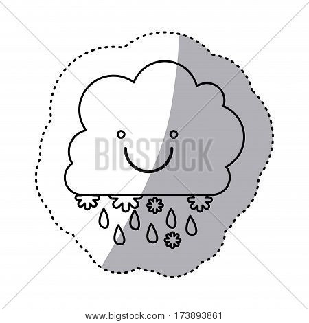 monochrome contour sticker with smiling cumulus of clouds with rain vector illustration