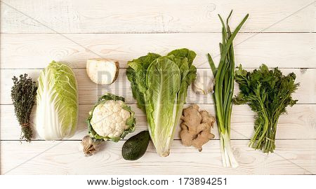 Raw Of Green And White Fresh Organic Vegetables