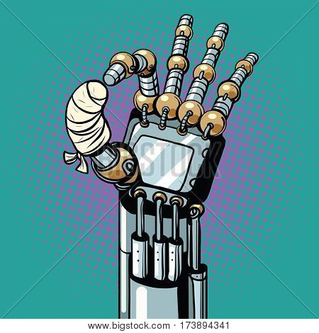 Robot OK okay gesture hand broken bandaged finger, pop art retro vector illustration