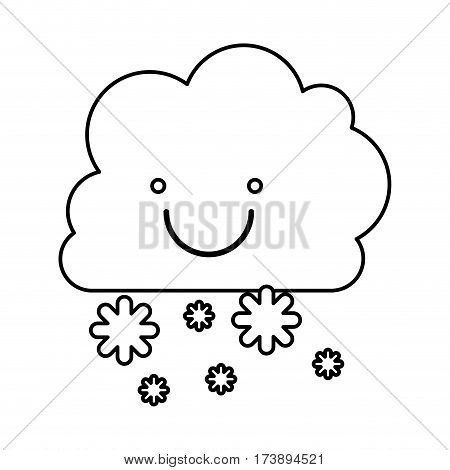 monochrome contour with smiling cumulus of clouds and snow fall vector illustration