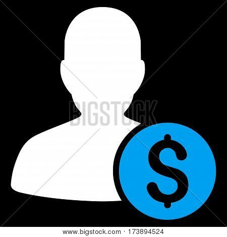 Investor vector pictogram. Illustration style is a flat iconic bicolor blue and white symbol on black background.