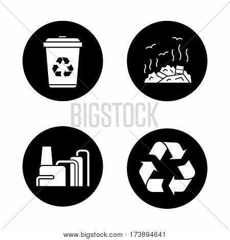 Environment protection icons set. Recycle bin and symbol, rubbish dump, factory pollution. Vector white silhouettes illustrations in black circles