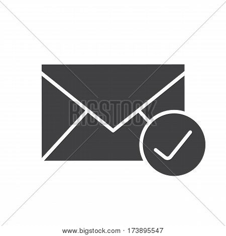 Checked email icon. Letter silhouette symbol. Received sms message. Negative space. Vector isolated illustration